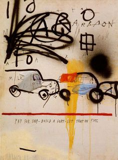 Jean-Michel Basquiat, Untitled (Car Crash) 1980. Oil, spray paint, varnish, and felt-tip marker on canvas. 101.6 x 75.6 cm. Showing at the Basquiat exhibition, Gagosian gallery, 255 W 24th Street, Chelsea, New York City, Feb. 7th to April 6th, 2013.
