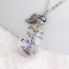 romantic bottle long chain necklace for women jewelry gift dried flower jewelry,   US $1.58/piece