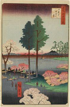 Hiroshige - One Hundred Famous Views of Edo Spring 15 Suwa Bluff in Nippori (日暮里諏訪の台 Nippori Suwanodai?)Suwa Myōjin Shrine grounds, Mount Tsukuba — 1856 / 5Nishinippori, Arakawa