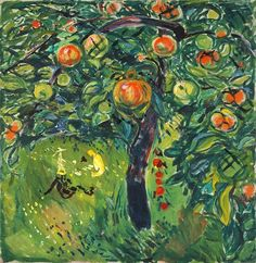 Edvard Munch Apple Tree, oil on canvas, 78 x 76 cm Edvard Munch, Paul Gauguin, Henri Matisse, Henri De Toulouse-lautrec, Garden Painting, Famous Art, Oil Painting Reproductions, Wassily Kandinsky, Apple Tree