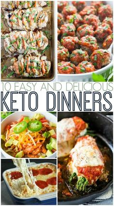 Roundup of ten easy and delicious keto dinner recipes. #LCHF #lowcarb #lowcarbrecipes #lowcarbdinner #ketorecipes #ketodinnerrecipes Healthy Low Carb Recipes, Healthy Dinner Recipes, Keto Recipes, Keto Foods, Ketogenic Recipes, Sin Gluten, Easy Chicken Dinner Recipes, Bariatric Recipes, Keto Dinner