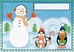 Funny Snowman and Penguins Kids Christmas Holiday Cloth Placemat Pink Christmas, Christmas Snowman, Christmas Holidays, Xmas, Funny Snowman, Cute Snowman, Free Christmas Printables, Party Printables, Christmas Subway Art