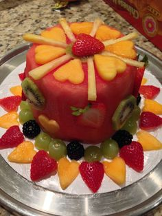 Cake made from fruit. Easy to do. Used a mini watermelon.