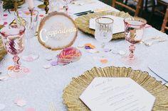 Agate table name. Travel themed wedding. Destination wedding.  | Palm Springs Wedding | Lovelyfest Event Design