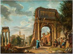 BLICK AUF DAS FORUM ROMANUM VOM TITUSBOGEN AUS, MIT FIGUREN Öl auf Leinwand. 48,5 x 63,5 cm. Beigegeben eine Expertise von Ferdinando Arisi, datiert 20. Juli...