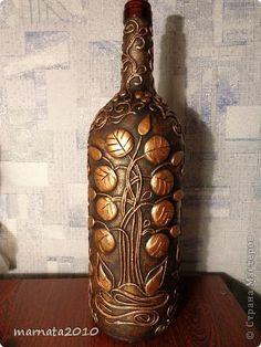 Декор предметов Аппликация из скрученных жгутиков Мой пейп-арт Бутылки стеклянные Салфетки фото 1