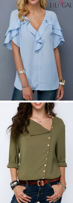 Baby Blue V Neck Tulip Sleeve Blouse/ Army Green Roll Sleeve Button Detail Blouse #liligal #top #blouse #shirts #tshirt