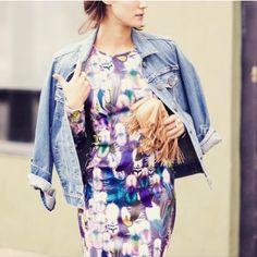 printed dress + jean jacket
