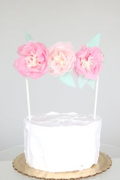Floral Cake Topper by Blush Bazaar. Flower colors are customizable.   Handmade and romantic for a summer wedding / party. #flowers #peonies #caketopper