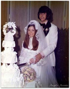 Vintage 1970's wedding cake photo. She is wearing my exact dress and veil 1974