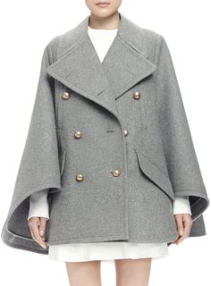 Chloe Double-Breasted Cape Coat, Gray