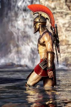 Assassin's creed Odyssey – Famous Last Words Assassin's Creed Wallpaper, Roman Warriors, Arte Cyberpunk, Greek Warrior, Spartan Warrior, Assassins Creed Odyssey, Greek Art, Guy Drawing, Dark Fantasy Art