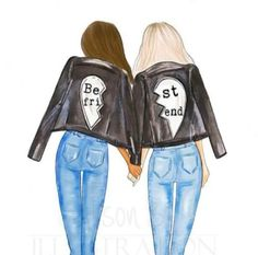 Personalized Best friends wall art multi cultural friend fashion illustration print gift for sister twin room mate Add names to print Bff Drawings, Drawings Of Friends, Easy Drawings, Cute Best Friend Drawings, Drawing Sketches, Sister Gifts, Best Friend Gifts, Color Composition, Friends Mode