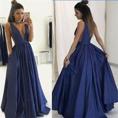 2017 Long deep v neck sexy Prom Dress, popular gowns Party Dress, PD0327 The long  prom dresses are fully lined, 4 bones in the bodice, chest pad in the bust, lace up back or zipper back are all available, total 126 colors are available.This dress could be custom made, there are no extra cost to do custom size and color.Description1, Material: satin, elastic satin .2, Color: picture color or other colors, there are 126 colors are available, please contact us for more colors, please ask for…