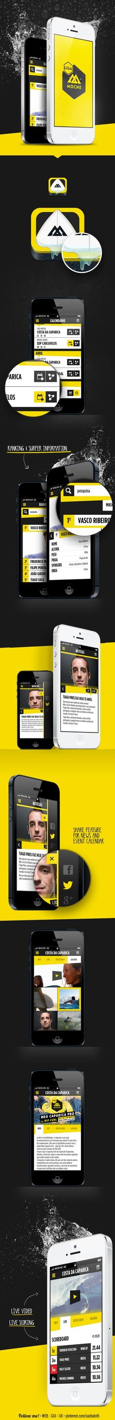 """Liga Moche iOS App concept *** """"Moche is TMN's (the leading mobile operator in Portugal) brand for youth targeted plans and it just released its new mobile app called Liga Moche,"""