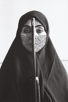 """Rebellious Silence"" Shirin Neshat, 1994. (photo taken by C. Preston). Neshat is an Iranian visual artist living in New York, whose work deals primarily with issues of identity and sexuality for Muslim women.                                                                                                                                                                                 More"