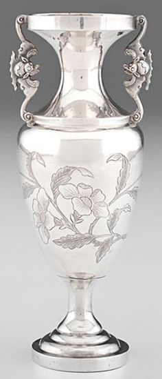 Vase; Silver, Chinese Export, Bud Urn Form, Bat Handles, Engraved Floral Spray, 6 inch. C. 1901