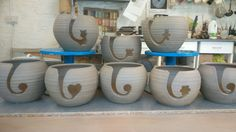 More yarn bowls ready for firing Yarn Bowl, Rustic Elegance, Bowls, Pottery, Ceramics, Mugs, Tableware, Gifts, Home Decor