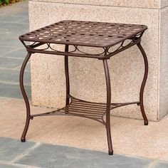 Santa Fe Iron Nailhead Side Table in Rustic Brown