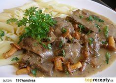Zvěřina s liškami a majoránkou recept - TopRecepty.cz Beef, Cooking, Meat, Kitchen, Brewing, Cuisine, Cook, Steak