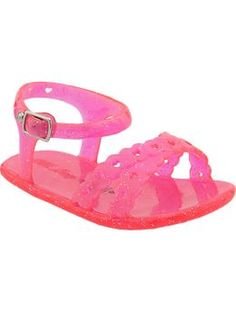 Glitter-Jelly Sandals for Baby | Old Navy $10 @Melissa Stancliff ..Aubrey is still wearing these little sandals you gave us...0-3 months lol