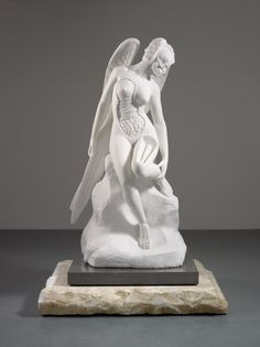 Anatomy of an Angel by Damien Hirst  The classically posed Carrara marble figure is based on Alfred Boucher'ssculpture 'L'Hirondelle' (1920). In Hirst's version, cross-sections of her body show the anatomical structure beneath the skin, revealing she is human after all.