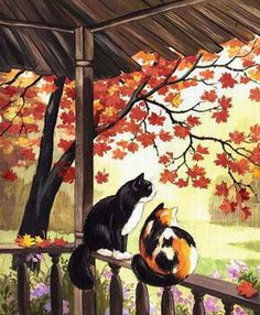 levkonoe: Т.Родионова. Листопад и коты