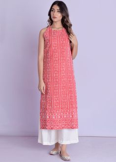 Rangpur Blended Cotton Kurta Palazzo Set in Red Indian Fashion Dresses, Dress Indian Style, Indian Designer Outfits, Indian Outfits, Designer Dresses, Fashion Outfits, Women's Fashion, Designer Kurtas For Women, Designer Wear