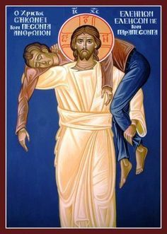 The good shepherd, i. we are the sheep gone astray that Christ carries back to the flock. Christian Images, Christian Art, Religious Icons, Religious Art, Orthodox Catholic, Byzantine Icons, The Good Shepherd, In Christ Alone, Orthodox Icons