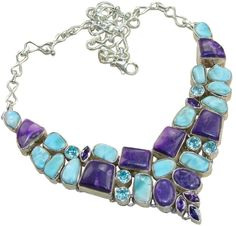 Stunning Necklace,925 Sterling Silver Jewelry with Larimar, Blue Topaz Gemstones, 925 Sterling Silver Jewelry Setting with Natural Gemstone $384.