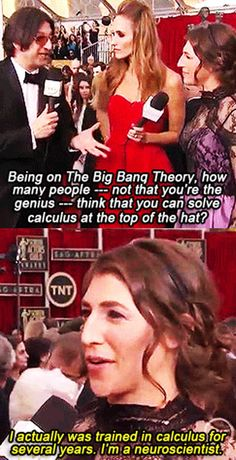Mayim Bialik has a PhD in neuroscience, just like her character on The Big Bang Theory, Dr. cracks me up. // I don't really like TBBT anymore (because of reasons) but this is awesome Big Bang Theory, The Big Theory, The Big Bang Therory, Non Blondes, Mayim Bialik, Women Rights, Funny Captions, Look At You, Just For Laughs