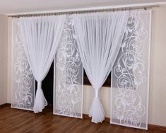 Firana Komplet na Balkon 3 im Internet 7051718981 - Allegro. Ruffle Curtains, Home Curtains, Curtains Living, Hanging Curtains, Curtains With Blinds, Curtain Designs For Bedroom, Window Curtain Designs, Curtain Styles, Rideaux Design