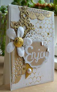 Card single big flower doily vintage shabby chic flower card glitter blomsterbox gitte