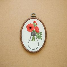 Poppies in a Light Bulb Hand Embroidery Hoop Art (tattoo modern embroidery wall hanging - flower embroidery) by ALIFERA on Etsy