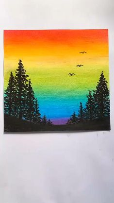 Easy Canvas Art, Simple Canvas Paintings, Small Canvas Art, Diy Canvas, Quote Paintings, Oil Pastel Paintings, Art Drawings For Kids, Art Drawings Sketches Simple, Nature Drawing For Kids