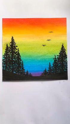 Oil Pastel Drawings Easy, Oil Pastel Art, Art Drawings Sketches Simple, Art Drawings For Kids, Nature Drawing For Kids, Oil Pastel Crayons, Oil Pastel Paintings, Colorful Drawings, Simple Canvas Paintings