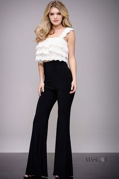 2b3729853d64 Ivory and Black Ruffle Top Two Piece Contemporary Jumpsuit by Jovani M50746