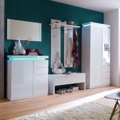 Moderní předsíňový nábytek v bílém vysokém lesku.  Možnost zakoupení samostatných elementů. Šatní skříň a botník s RGB LED osvětlením s dálkovým ovládáním a volitelnými barvami světla. Hallway Furniture, White Furniture, Furniture Sets, Wardrobe Dimensions, Cabinet Dimensions, Shoe Storage Cabinet, Bed, Home Decor, White White