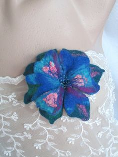 Blue flower,Flower brooch,Felted flower brooch,Art to wear, Felt Flower Pin, Wool Brooch,wearable art,AgathaBee,Gift idea ,mother's day gift Felt Flowers, Blue Flowers, Felt Necklace, Wet Felting, Photo Jewelry, Handmade Flowers, Flower Brooch, Unique Art, Wearable Art