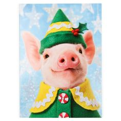 Pig in elf suit Christmas card