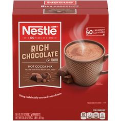 Nestle Hot Chocolate Mix, Hot Cocoa Chocolate Cocoa oz Packets (Pack of 50 Paleo Hot Chocolate, Reindeer Hot Chocolate, Hot Chocolate Mix, Chocolate Flavors, Nestle Chocolate, Souffle Recipes, Hot Cocoa Mixes, Gourmet Recipes, Carnation