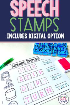 Articulation stamps, includes both paper and interactive versions to build phonological awareness and speech skills! Articulation Therapy, Articulation Activities, Speech Therapy Activities, Speech Language Pathology, Speech And Language, Word Patterns, Phonological Awareness, Literacy Skills, Letter Sounds