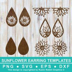 Diy Leather Earrings, Diy Earrings, Flower Earrings, Wooden Earrings, Cricut Explore Projects, Cricut Craft Room, Jewelry Crafts, Earring Crafts, Handmade Jewelry