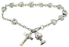 Set of 3 Silvertone Rainbow Navy Charm Beads