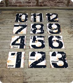 Vintage tin number signs for $10! So cute for us Corbin 3!