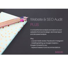 Get a comprehensive Website & SEO Audit that includes a full social media review, keyword research, set up of Google Analytics and Search Console - we analyse your websites front end and back end, plus run extensive site speed tests to help you get the best out of your websites SEO and help you stand out in Google Results and your digital profiles.