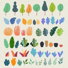 Set of of plants, trees, leaves, branches, bushes and pots Illustration Plate, Illustration Design Graphique, Digital Illustration, Motif Tropical, Map Design, Vector Art, Vector Trees, Image Vector, Vector Illustrations