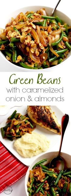 Green beans with caramelized onion and almonds