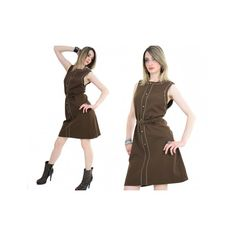 Vintage vtg 60s mod dolly sleeveless jumper dress with metal buttons... via Polyvore