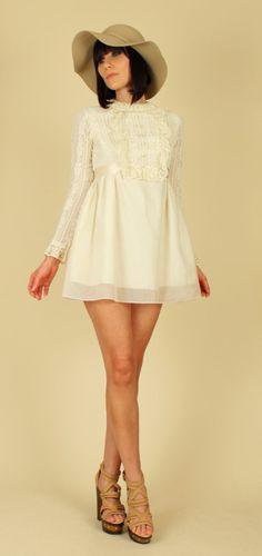 60s LACE Dress Mini Boho White Babydoll Sheer Sleeve 1960s Mod ...